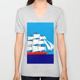 Clipper Ship in Sunny Sky Unisex V-Neck