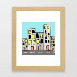 City Skyline Along the Road Drawing Framed Art Print