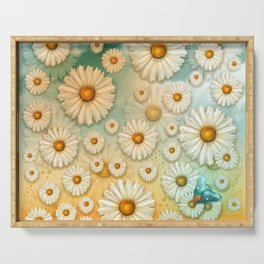 """Turquoise Moth &  Marguerites"" Serving Tray"