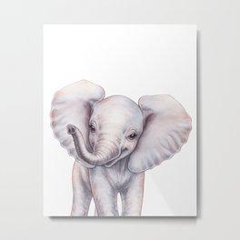 Baby Elephant, Safari Baby Animals, Cute Nursery Animals Baby Room Decor Metal Print