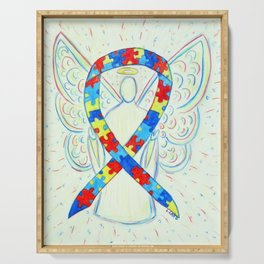 Autism Puzzle Piece Awareness Ribbon Angel Art Painting Serving Tray