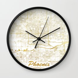 Phoenix Map Gold Wall Clock
