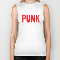 punk rock Biker Tanks featuring PUNK by Silvio Ledbetter