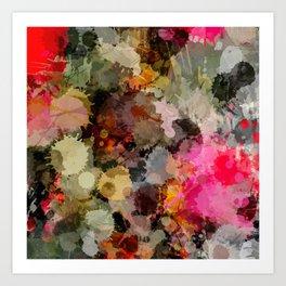 Paint Splatter Bouqet  Art Print