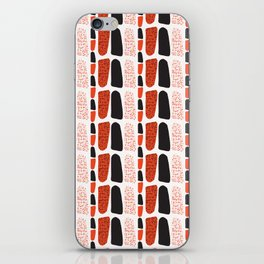 Terracotta and Black Abstract Drawn Symbols Style iPhone Skin