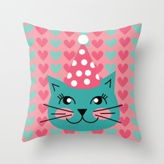 Cat Party hat Throw Pillow