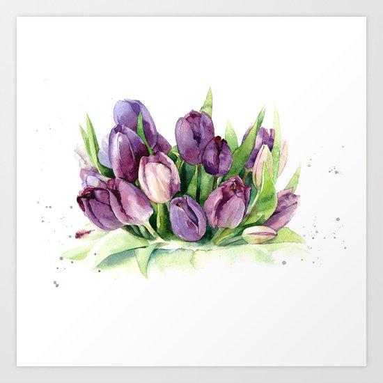 Watercolor bouquet of tulips Art Print