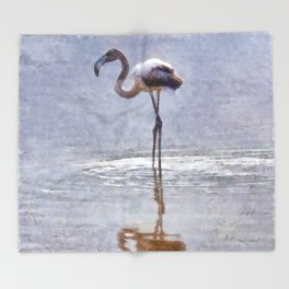 Flamingo Ripples and Reflections Watercolor Throw Blanket