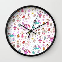 girl power Wall Clocks featuring Girl Power by Art Tree Designs