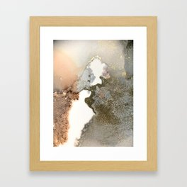 Abstract ink painting of black, pink and gold Framed Art Print