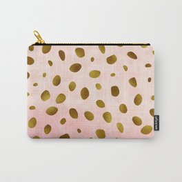 Blush Pink With Gold Foil Animal Print Pattern Carry-All Pouch