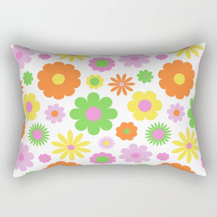 Vintage Daisy Crazy Floral Rectangular Pillow