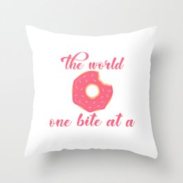 Donuts Will Save The World One Bite At A Time Dough Food Doughnut Pastry Sprinkles Pastry T-shirt Throw Pillow