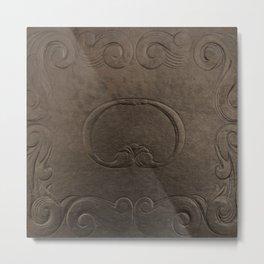 Brown vintage faux leather Metal Print