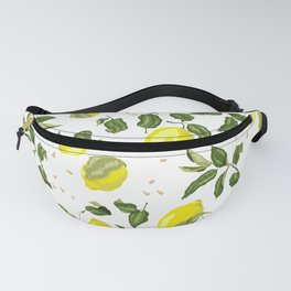 Citrus lemon with seeds and leaves pattern Fanny Pack