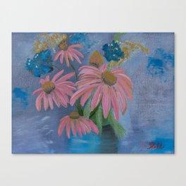 Cone flowers in blue jar Canvas Print