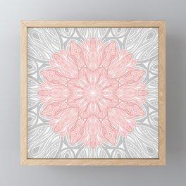MANDALA IN GREY AND PINK Framed Mini Art Print
