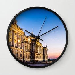 Royal Palace in Madrid at sunset Wall Clock