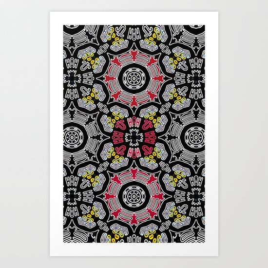 Whats black and yellow and red all over? Art Print
