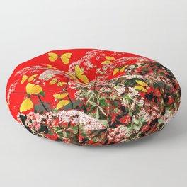 RED GARDEN ART OF YELLOW BUTTERFLIES & LACEY FLOWERS Floor Pillow