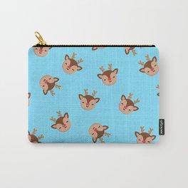 Blue Rudolf Reindeer Carry-All Pouch