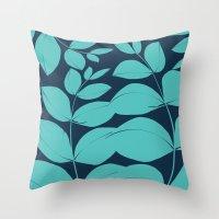 aelwen Throw Pillows featuring Aqua Leaves by Aelwen
