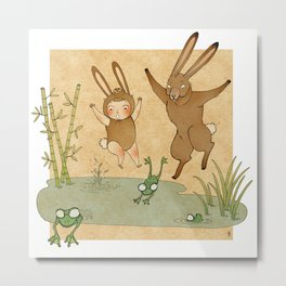 The hare and the frogs Metal Print
