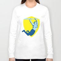 crossfit Long Sleeve T-shirts featuring Crossfit Pull Up Bar Shield Retro by patrimonio