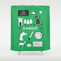 ouat Shower Curtains featuring OUAT - A Knight by Redel Bautista