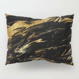 Luxury and sparkle gold glitter and black marble Pillow Sham