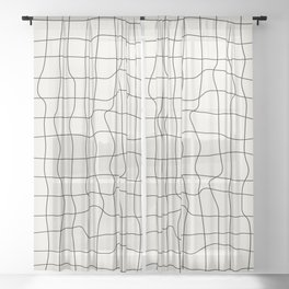 Warp Grid: Off-White Day Edition Sheer Curtain