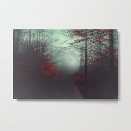 wounded woodland - misty fall forest Metal Print