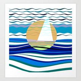Sailors Geometry of Sailing Abstract Art Print