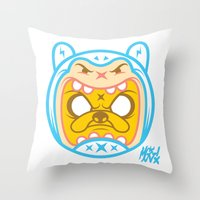 finn and jake Throw Pillows featuring Finn & Jake by Miguel Manrique