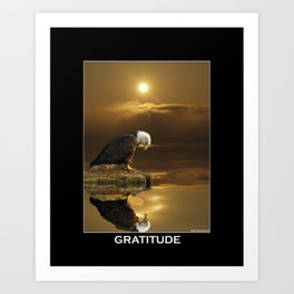Gratitude - Bald Eagle At Prayer Art Print