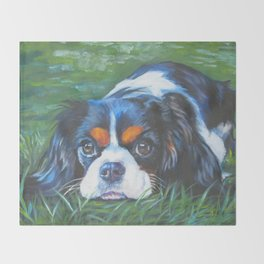 Beautiful Tricolour Cavalier King Charles Spaniel Dog Painting by L.A.Shepard Throw Blanket