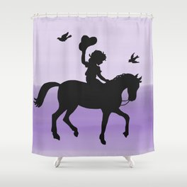 Girl and horse silhouette lavender Shower Curtain