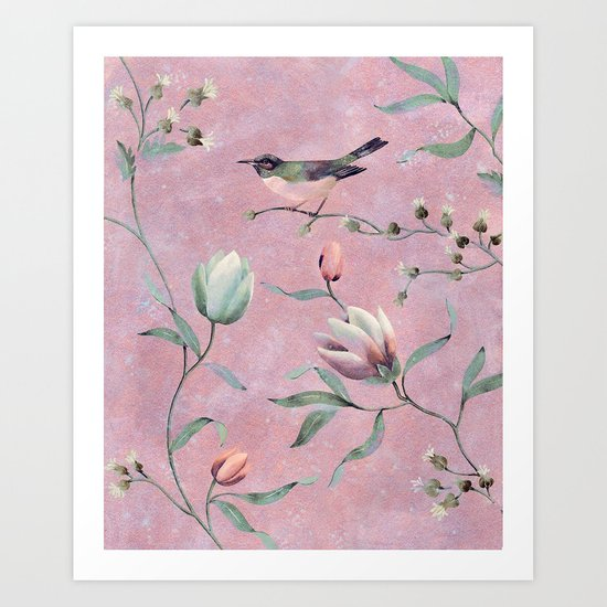 Bird on spring flowers Art Print
