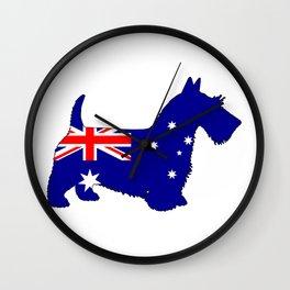 Australian Flag - Scottish Terrier Wall Clock