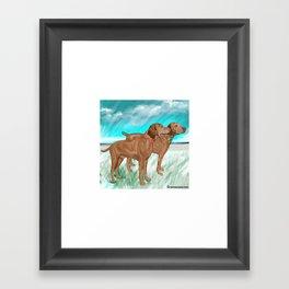 Vizslas by the Sea Framed Art Print