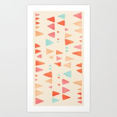 Back & Forth - triangle abstract pattern in peach, aqua & cream Art Print