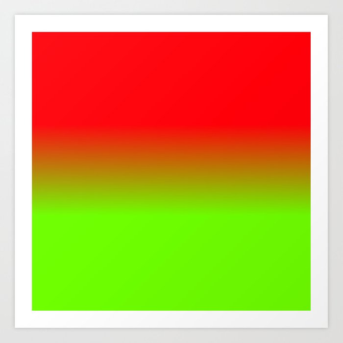 Neon Red And Neon Green Ombré Shade Color Fade Art Print By