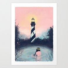 Lighthouse Girl Art Print