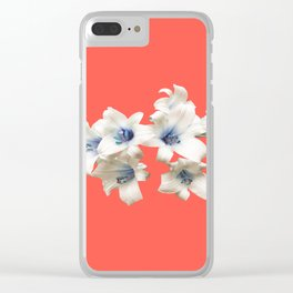 Blue Heart Lilies on Living Coral Clear iPhone Case