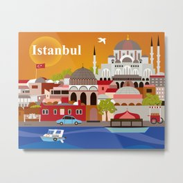 Istanbul, Turkey - Skyline Illustration by Loose Petals Metal Print