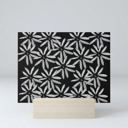 Tiny White Flowers on Black Background #decor #society6 Mini Art Print