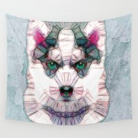 puppies Wall Tapestries featuring abstract husky puppy by Ancello