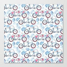 Vintage watercolor pink blue bicycle floral Canvas Print
