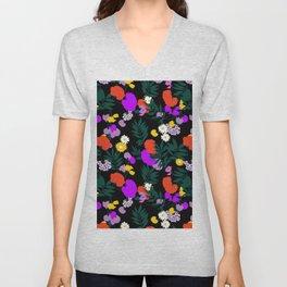 Vintage Mod Forest Floral in Black Unisex V-Neck