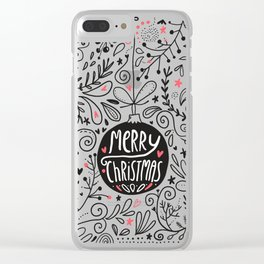 Merry Christmas doodles Clear iPhone Case